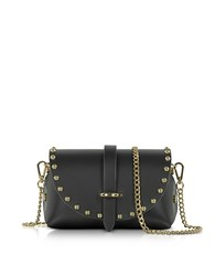 Le Parmentier Caviar Mini Black Leather Shoulder Bag W Studs