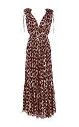 Temperley London Rider V Neck Dress Metallic