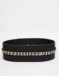 Asos Wide Waist Belt With Laid On Chain Detail Black