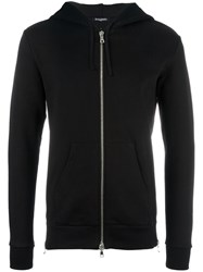 Balmain Side Zip Fastened Hoodie Black