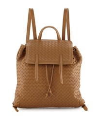 Medium Intrecciato Leather Backpack Camel Bottega Veneta