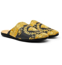 Versace Printed Cotton Slippers Black