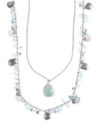 Lonna And Lilly Silver Tone Two Layer Beaded Pendant Necklace