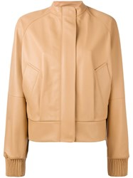 Jil Sander Banded Collar Jacket Women Leather 34 Nude Neutrals