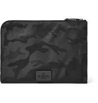 Valentino Camouflage Print Canvas Pouch Black