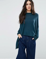 Subtle Luxury Loose And Easy Crew Neck Jumper In Peacock Peaccock Blue