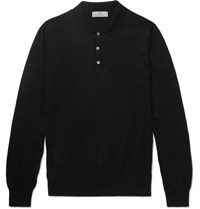 Canali Slim Fit Knitted Cotton Polo Shirt Black