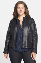 Bernardo Leather Front Zip Scuba Jacket Plus Size Black