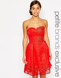 Chi Chi Petite Chi Chi London Petite Bandeau Prom Dress With Floral Applique Red