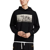 Ovadia And Sons Cheetah Cotton French Terry Hoodie Black