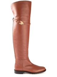 Valentino Garavani Gold Detail Over The Knee Length Boots Nude And Neutrals