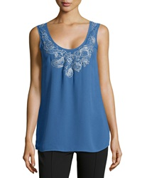 Marchesa Voyage Paisley Embroidered Silk Tank Top Azure