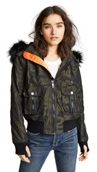 Jocelyn Camo Bomber Jacket Green Camo Black
