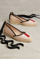 Anthropologie Bibi Lou Beaded Ankle Wrap Espadrilles Neutral Motif