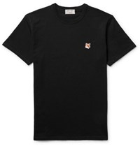 Maison Kitsune Fox Embroidered Cotton Jersey T Shirt Black