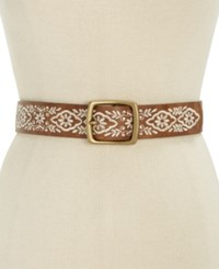 Inc International Concepts Floral Embroidered Belt Only At Macy's Cognac