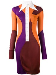 Givenchy Colour Block Collared Dress Women Viscose 38 Brown