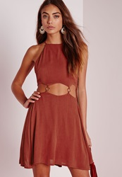 Missguided Cut Out Ring Detail Skater Dress Rust Brown