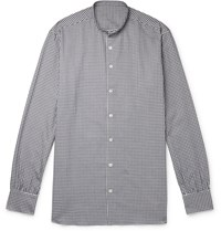 Anderson And Sheppard Grandad Collar Gingham Brushed Cotton Shirt Blue
