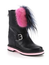 Fendi Caroline Mixed Fur Trimmed Leather Wedge Booties Black Pink