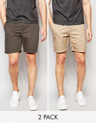 Asos Slim Chino Shorts Mid Length In Khaki Stone 2 Pack Save 17 Forest Night Stone Multi