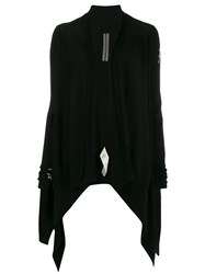 Rick Owens Waterfall Front Cardigan Black