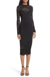 Milly Women's Fractured Pointelle Body Con Dress Black