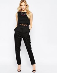 Girls On Film Jumpsuit With Overlay Top Black