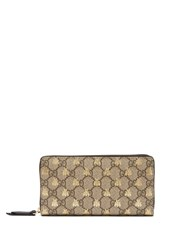 Gucci Gg Supreme Logo And Bee Wallet Beige Multi