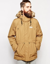 Helly Hansen Parka With Insulation And Faux Fur Hood Tan