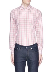 Isaia 'Milano' Gingham Check Poplin Shirt Red