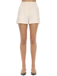 Valentino High Waist Wool And Silk Crepe Shorts Ivory