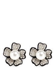 Kenneth Jay Lane Crystal Pave Flower Stud Earrings White Metallic