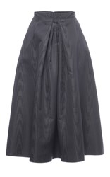 Nina Ricci Coated Moire Faille Skirt Dark Grey