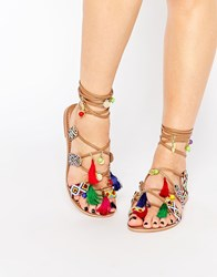 Glamorous Embroidered Gladiator Charm Sandals Multi Tan