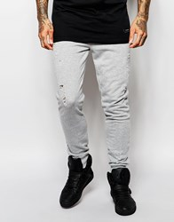 Criminal Damage Distressed Joggers With Rips Grey