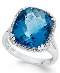 Macy's 14K White Gold Ring Cushion Cut London Blue Topaz 9 3 8 Ct. T.W. And Diamond 1 5 Ct. T.W. Ring