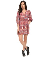 Rock And Roll Cowgirl Long Sleeve Dress D4 5776 Red Women's Dress