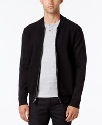 Alfani Collection Men's Lightweight Waffle Knit Sweater Jacket Deep Black