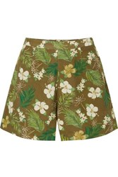 Miguelina Axa Printed Cotton Voile Shorts Army Green