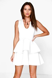 Boohoo Plunge Neck Peplum Skater Dress Ivory
