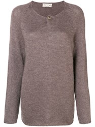 Ma'ry'ya Longline Fine Knit Sweater Brown