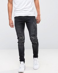 Avior Skinny Distressed Jeans With Camo Detail Black