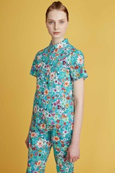Layla Racy Floral Printed Short Sleeve Shirt Turquoise