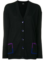 Paul Smith Ps By V Neck Long Sleeve Cardigan Black