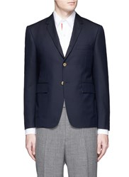 Thom Browne Crab Embroidered Wool Blazer Blue