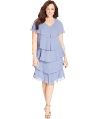 Patra Plus Size Short Sleeve Tiered Dress Cornflower