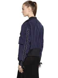 Designers Remix Nylon Bomber Jacket W Lace Up Detail