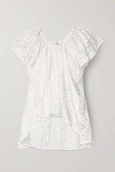 Miguelina Marisol Crochet Trimmed Embroidered Cotton Voile Top White
