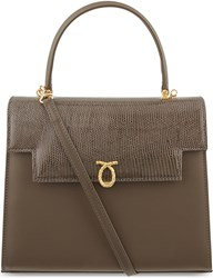 Launer Traviata Calf And Lizard Leather Tote Brown